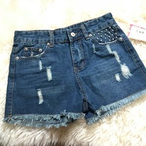 Pants - Destroyed and Studded Jean Shorts SZ SM